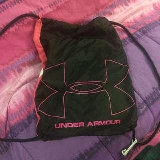 authentic pink and black under armour drawstring bag