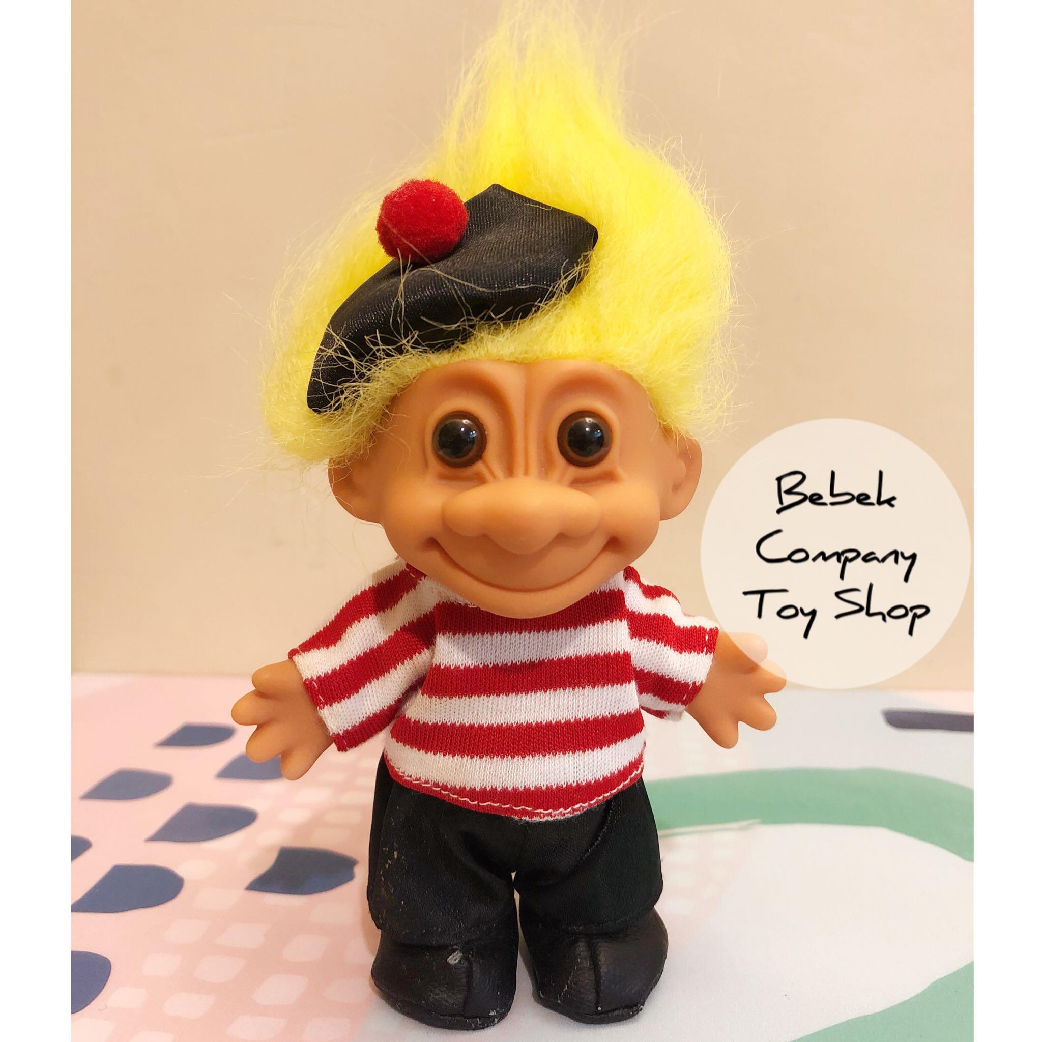 🇮🇹1980s VTG troll trolls 義大利 貢多拉 黃色頭髮 船伕 醜娃 巨魔娃娃 幸運小子 古董玩具