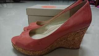 easyspirit粉橘魚口楔形鞋(8號)
