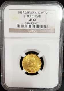 1887英國維多利亞女皇1/2磅金幣罕有、NGCMS64