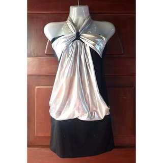 silver & black tube bodycon dress