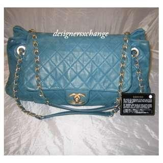 64752be956ec Chanel Blue Quilted Iridescent Calfskin Leather Large Accordion Flap Bag  (Matte Gold hardware)