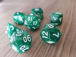 🚚 Boring Green and White Marbled Dice