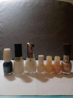 黑,白,珍珠白,象牙白,裸色,橙珠紅,紫珠色指甲油