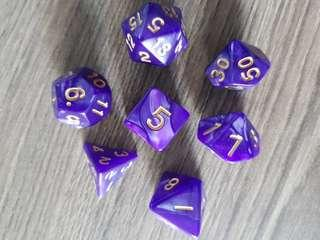 🚚 Purple and Gold Pearled Dice: Set of 7 INSTOCK