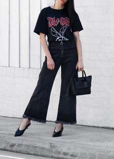 Wide-Legged Black Denim