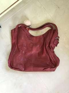 Red calf leather handbag