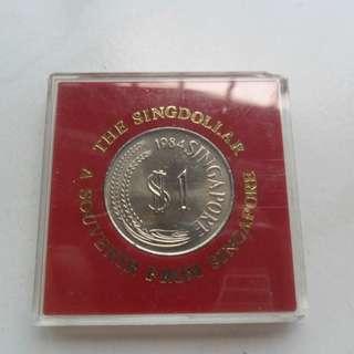1984 Singapore The Singdollar Unc $1 Lion coin