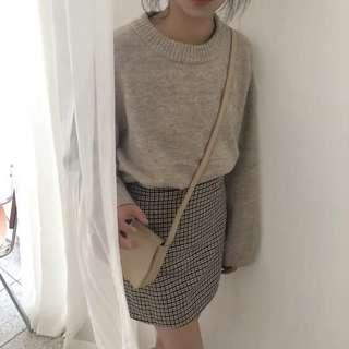 溫柔小姊姊套裝 奶茶色毛衣 格子裙