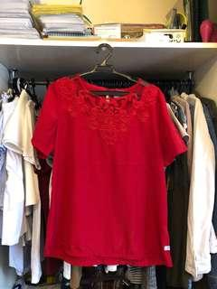 Bago Red Lace Top