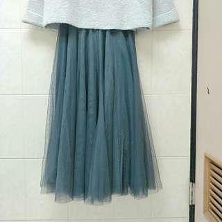 🚚 氣質夢幻灰藍色雙層紗裙 鐵灰色 韓妮Lovfee Cherrykoko kashin Suiza ZARA 正韓貨cozyfee