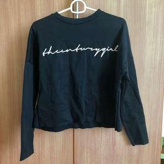 🚚 BN Black Typography Boxy Pullover