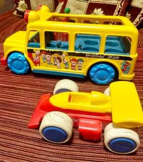 Toy Bus And Racing Car