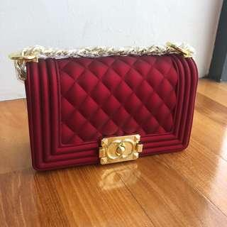 Red Gold Small Classy LeBoy Style Chain Bag