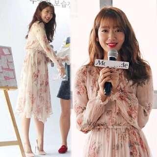 朴信惠、孫藝珍同款 花卉雪紡洋裝