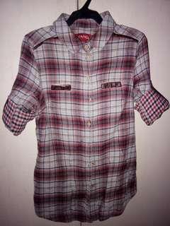 Repriced!!! Long sleeve polo checkered