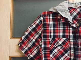🚚 男孩風 格紋連帽襯衫