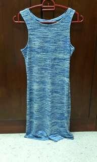 Cotton On Blue With White Stripes Dinner Dress Middlecut Sleefless