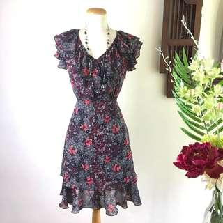 🚚 Dress (SALE) - Red & Black Floral Print Frill Dress