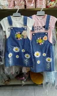 Baju anak import jumpskirt flower blink