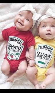 Cute mustard & ketchup rombers