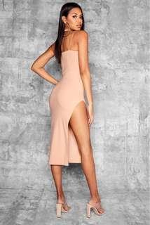 Nude Thigh Split Dress