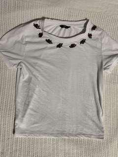 rose embroidery square top