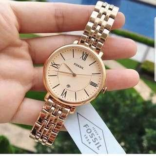 🚚 [Valentines Day Special] Fossil Ladies' Jacqueline Rose-Tone Stainless Steel Band Watch ES3435
