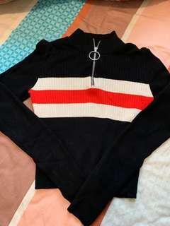 H&M 黑色短身上衣拼高腰短褲