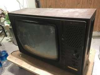 古董 木殻 電視 Hitachi 70's wooden television