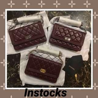 Instock Chanel woc lambskin brand new with serial