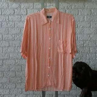 MITHO Coral And White Cotton Short Sleeved Polo Size XL