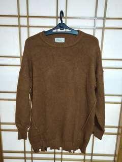 🚚 咖啡色長版長袖毛衣