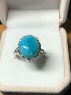 🚚 海纹石925银戒指💍Larimar crystal ring