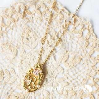 Pretty vintage gold tone necklace with letter B initial pendant, faux pearls and a pink rose