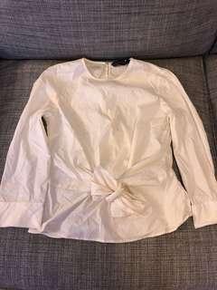 ZARA七分袖束腰純白上衣