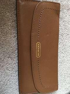 Coach leather brown chequebook wallet