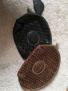 New roots coin pouches leather brown and black woven