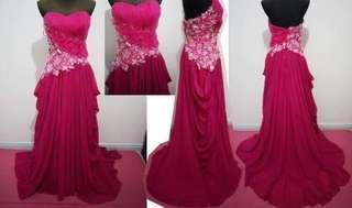 超靚料 粉紅色 婚紗 禮裙 長裙 grad din裙 姊妹裙 私影裙