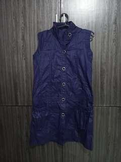 Blue violet close neck dress
