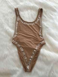 Embellished One Piece Swimsuit Size Small