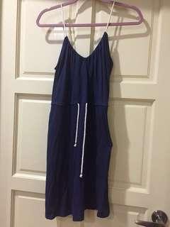 Navy Nautical Drawstring Dress
