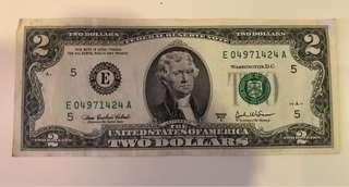 USD2 US Federal Reserve Note, 2003 Series