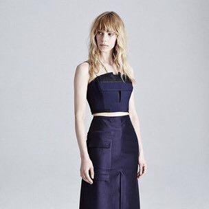 Acler midnight blue / navy corset bustier crop top