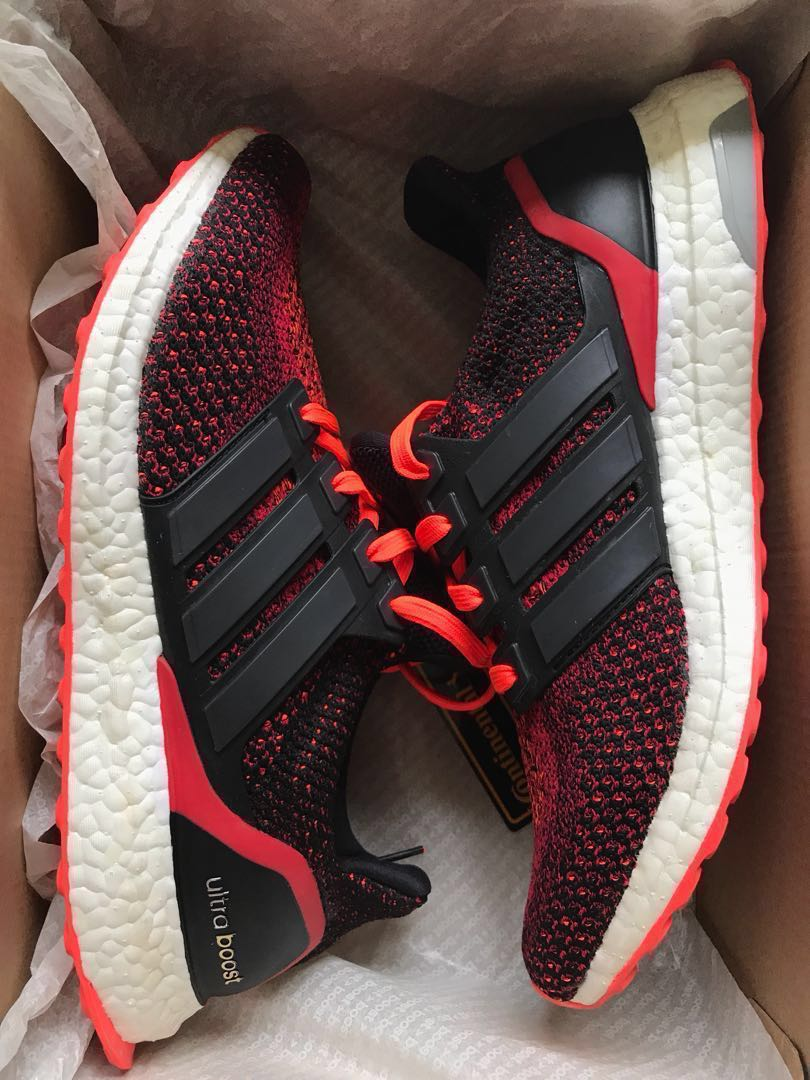 693694e5a8c0 ADIDAS Ultra Boost M Core Black Solar Red Sneakers