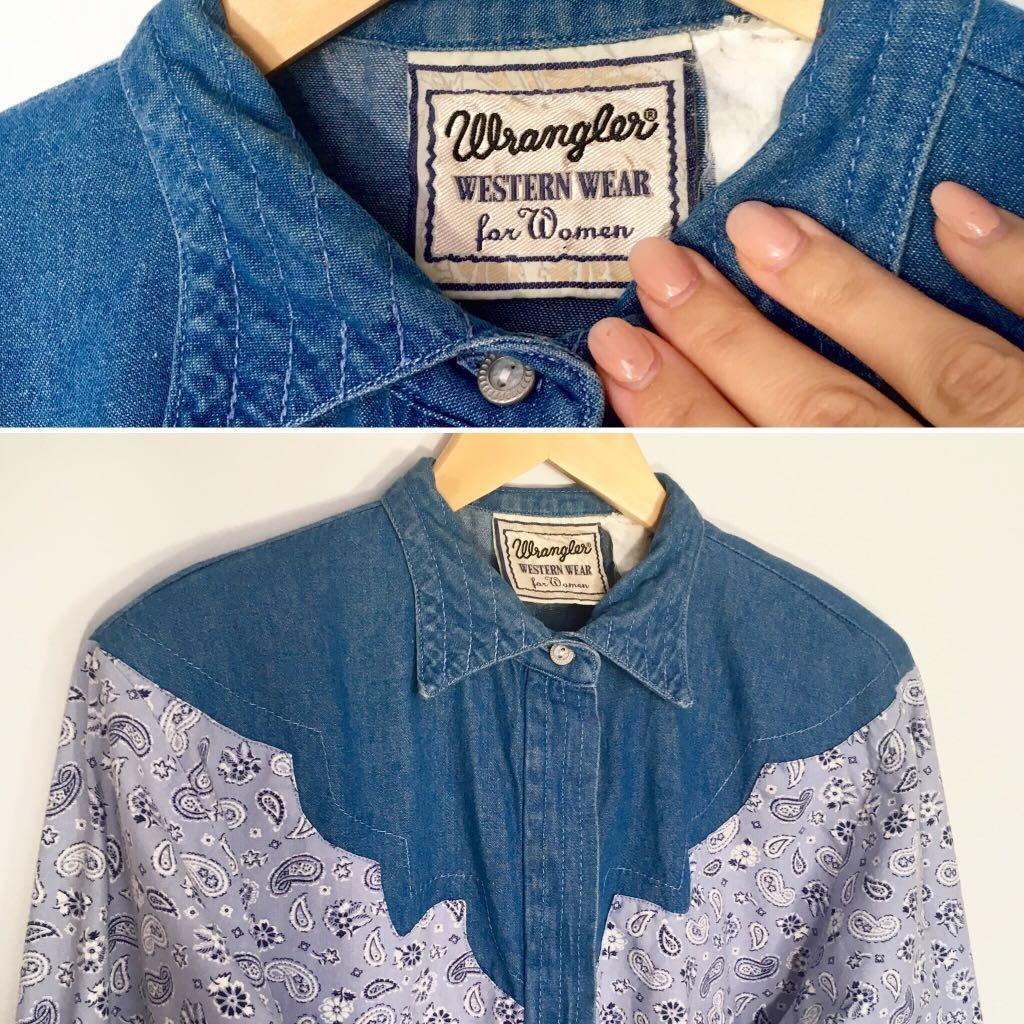 Amazing 90's vintage Wrangler paisley denim western shirt