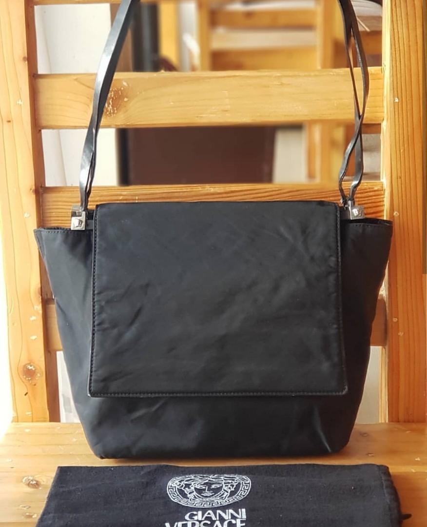 395324560b Authentic Gianni Versace Nylon Flap Frame Bag