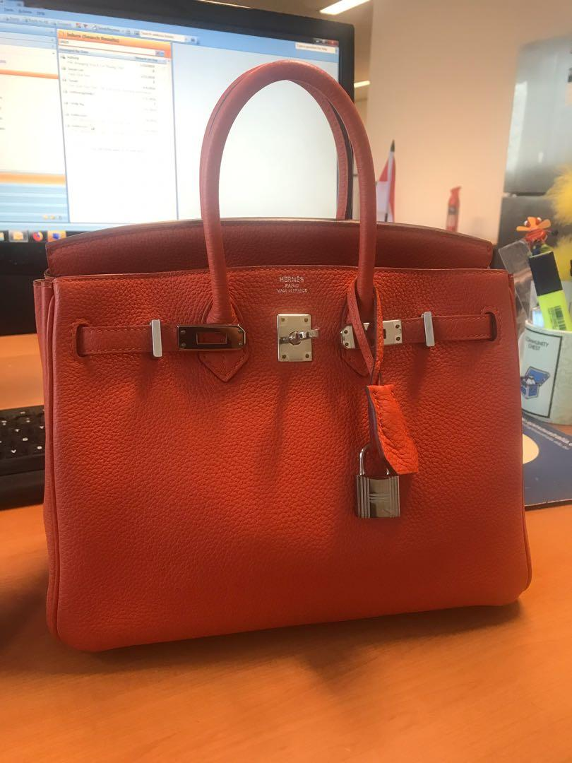 Authentic like new hermes Birkin 25 in feu Togo leather