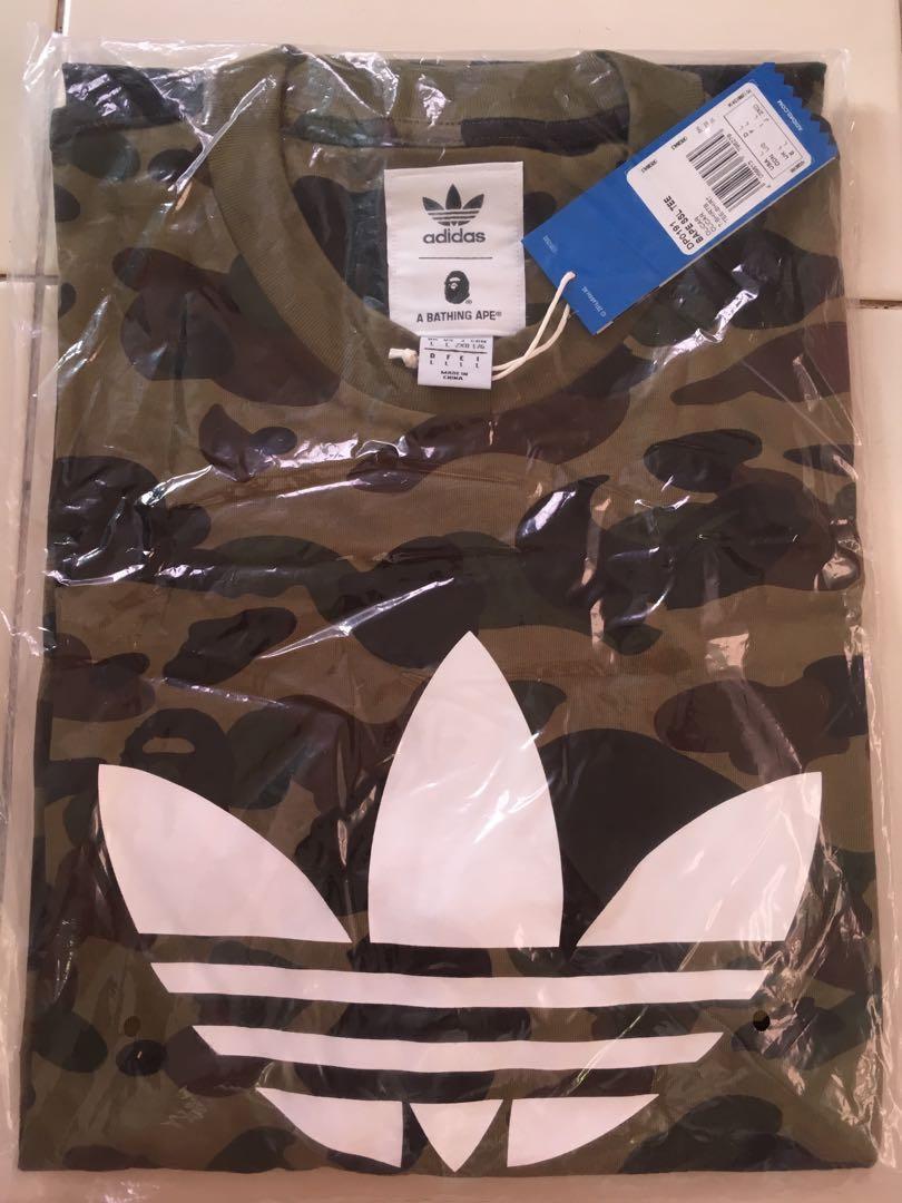 3adc7859 Bape x adidas green colour camo tee size L, Men's Fashion, Clothes ...