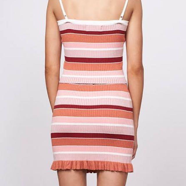 BNWT - Mink Pink striped knit skirt - size 8